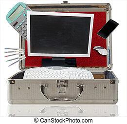 bureau, dans, les, valise