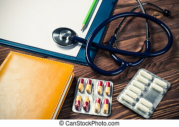 bureau, de, docteur, à, médecine, choses