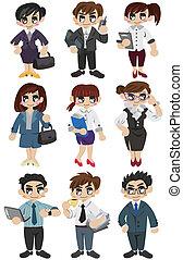 bureau, dessin animé, icône, ouvrier