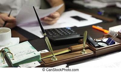 bureau, directeur, documents, business, réexaminer