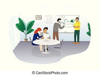 bureau, discuter, séance gens, plan, fond, horizontal, business, blanc, isolé, illustration, vecteur, table