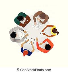 bureau, discuter, vue, séance gens, plan, fond, carrée, business, blanc, illustration, vecteur, sommet table