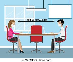 bureau, distance, travail social
