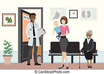 bureau, docteur, américain, africaine, devant, mâle