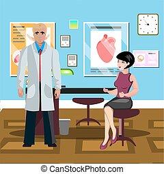 bureau., docteur femme