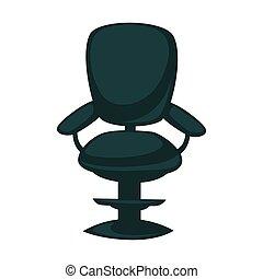 bureau, dos, isolé, accoudoirs, noir, chaise, blanc