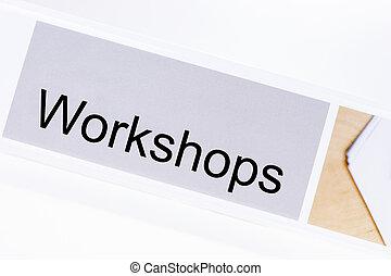 bureau, dossier, à, les, étiquette, ateliers, blanc
