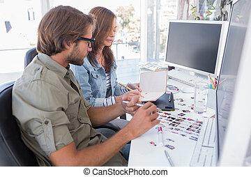bureau, editors, fonctionnement, photo, ensemble
