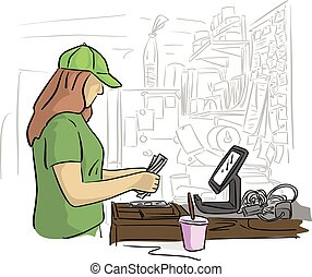 bureau, elle, argent, caissier, isolé, illustration, arrière-plan., vecteur, femelle noire, blanc, dénombrement, lignes
