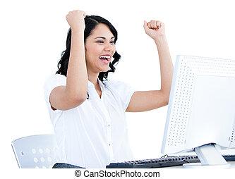 bureau, elle, femme affaires, air, frapper, informatique, positif, devant