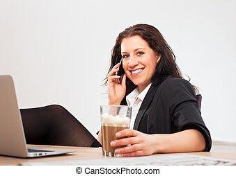 bureau, elle, jeune, téléphone, professionnel, utilisation