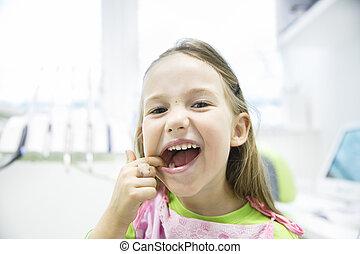 bureau, elle, sain, dentaire, dents lait, girl, projection
