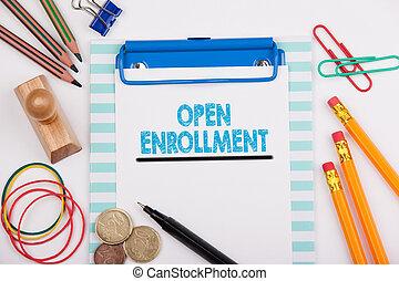 bureau, enrollment., ouvert, blanc, papeterie, bureau
