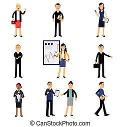 bureau, ensemble, employés, procès, vecteur, hommes affaires, caractères, illustrations