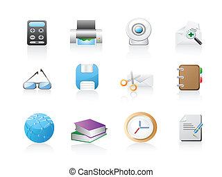 bureau, ensemble, icône