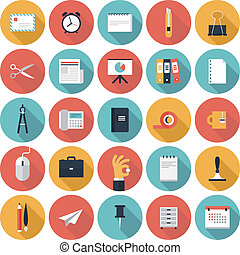 bureau, ensemble, icones affaires, plat