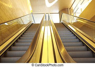 bureau, escalators, bâtiment, escalier, intérieur