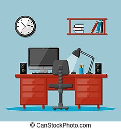bureau, espace de travail, affaires modernes