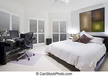 bureau, et, épargner, chambre à coucher, dans, luxe, manoir