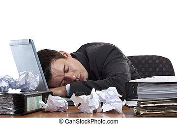 bureau, fatigué, épuisé, ordinateur portable, dormir, homme affaires