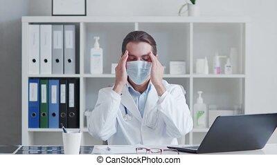 bureau., fatigué, fonctionnement, docteur, monde médical, ...