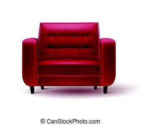 bureau, fauteuil, intérieur, maison, ou, rouges