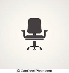 bureau, fauteuil, symbole, signe, vecteur, icône