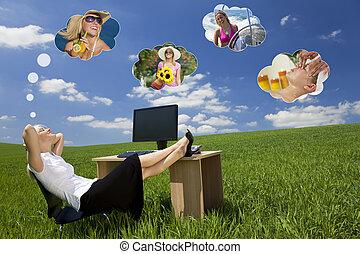 bureau, femme affaires, champ, vert, rêver, jour