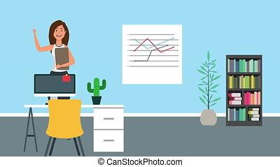 bureau, femme affaires, fonctionnement