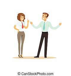 bureau, femme affaires, illustration, vecteur, homme affaires, sourire, réunion, avoir