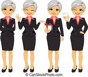 bureau, femme affaires, personne agee