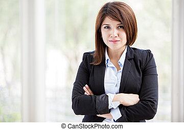 bureau, femme affaires, puissant