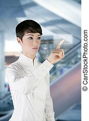 bureau, femme affaires, tampon, doigt, toucher, futuriste