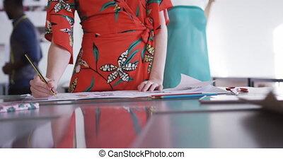 bureau, femme, mode, caucasien, fonctionnement