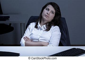 bureau, femme, triste, séance