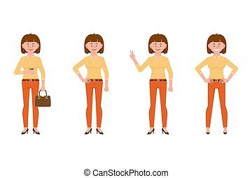 bureau, femme, victoire, devant, orange, caractère, ...