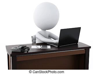 bureau fonctionnant, affaires gens, blanc, 3d