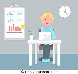 bureau fonctionnant, couleur, illustration, vecteur, employé