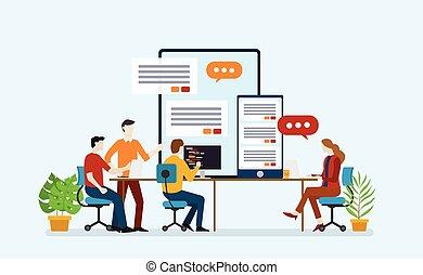 bureau fonctionnant, développement, application, ensemble, équipe, apps, mobile, démarrage, programmeur