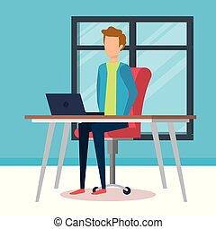 bureau fonctionnant, jeune, illustration, vecteur, homme