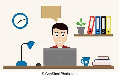 bureau fonctionnant, ordinateur portable, derrière, table, homme