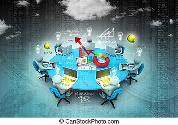 bureau fonctionnant, professionnels, ensemble, table