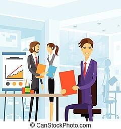 bureau fonctionnant, professionnels, séance, lieu travail