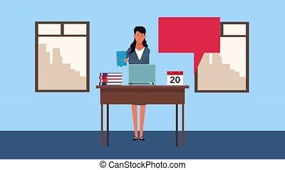 bureau, fonctionnement, élégant, animation, femme affaires