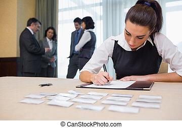 bureau, fonctionnement, accueil, femme affaires