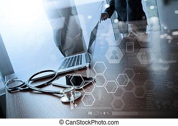 bureau, fonctionnement, docteur, double, ordinateur...