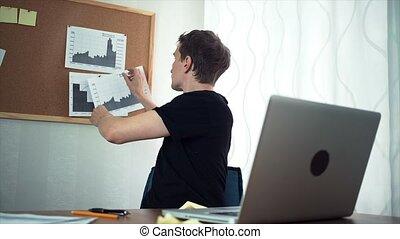bureau, fonctionnement, graphiques, ordinateur portable, travailleur indépendant, informatique, utilisation, maison, analyser