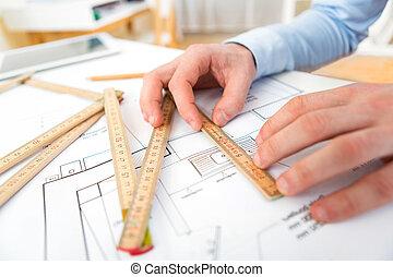 bureau, fonctionnement, haut, architecte, fin, vue