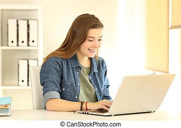 bureau, fonctionnement, ordinateur portable, ouvrier, ligne, heureux