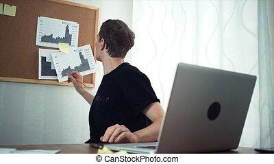 bureau, fonctionnement, travailleur indépendant, ordinateur portable, graphiques, informatique, dactylographie, maison, analyser